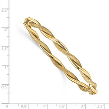 Leslies 14k Polished And Textured Twist Bangle - Crestwood Jewelers