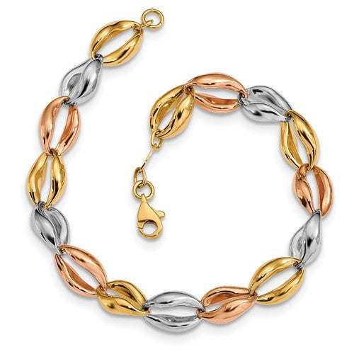 14K Tri-Color Fancy Link Bracelet - Crestwood Jewelers