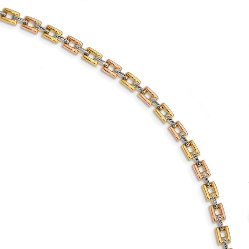 14K With White And Rose Rhodium Diamond Cut Fancy Bracelet - Crestwood Jewelers