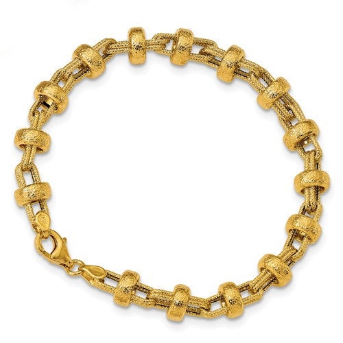 14K Textured Fancy Link Bracelet