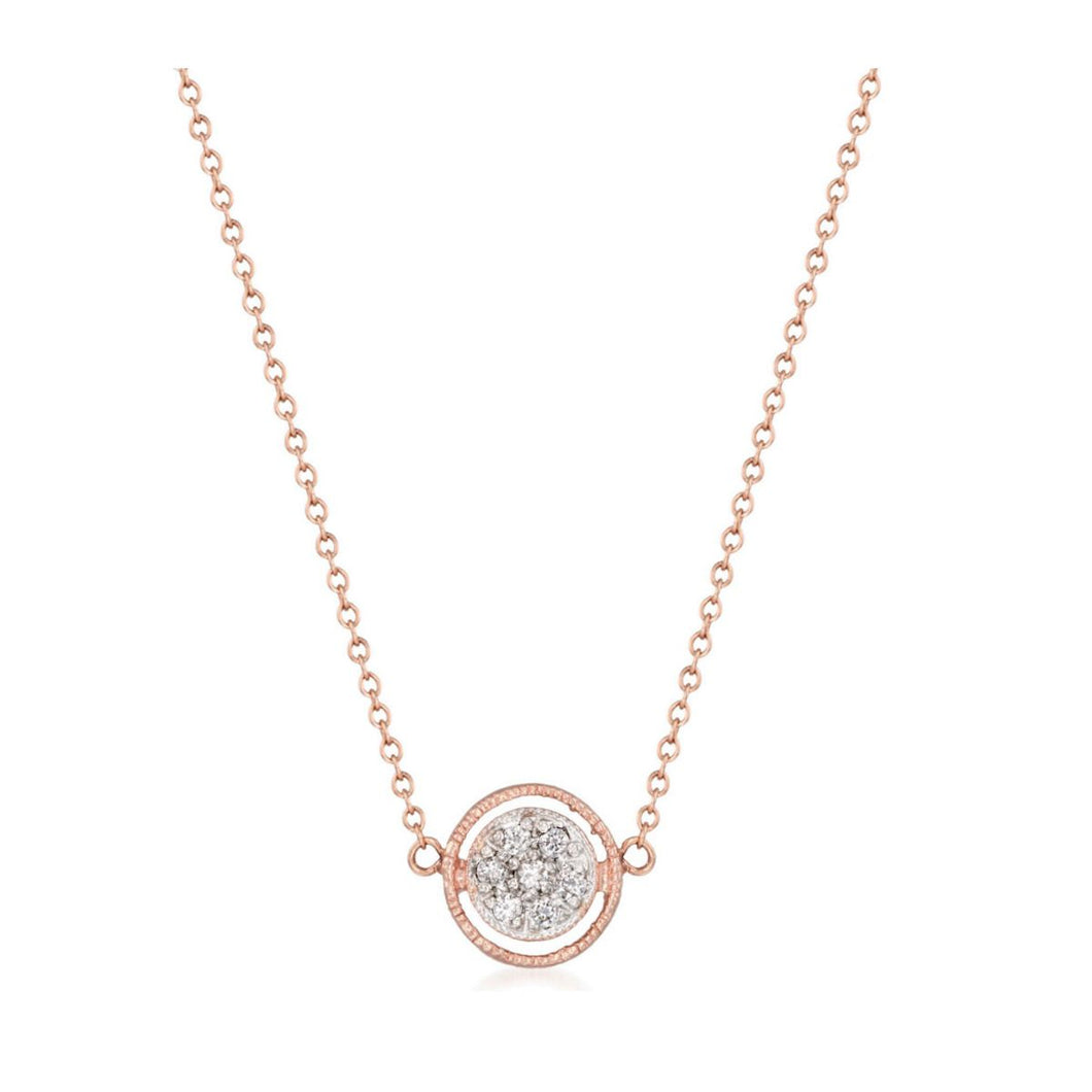 14K Rose Gold Diamond Pave Necklace