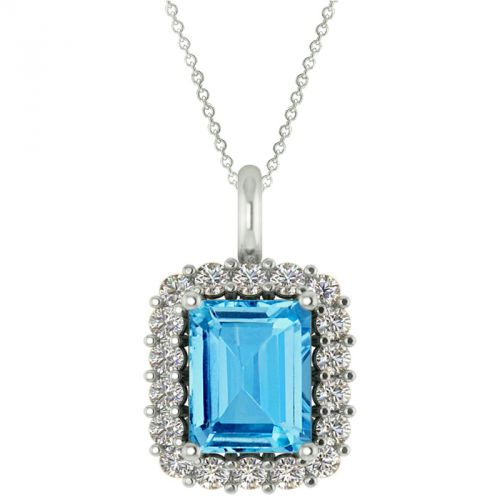 14k Blue Topaz And Diamond Pendant 18
