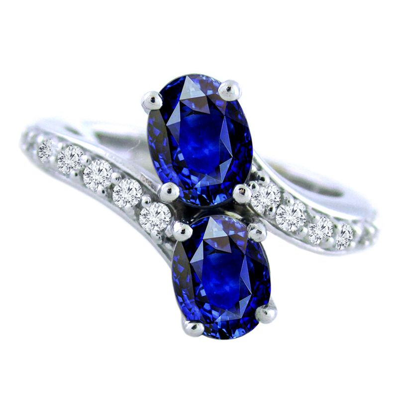 14k Diamond And Sapphire Two Stone Ring