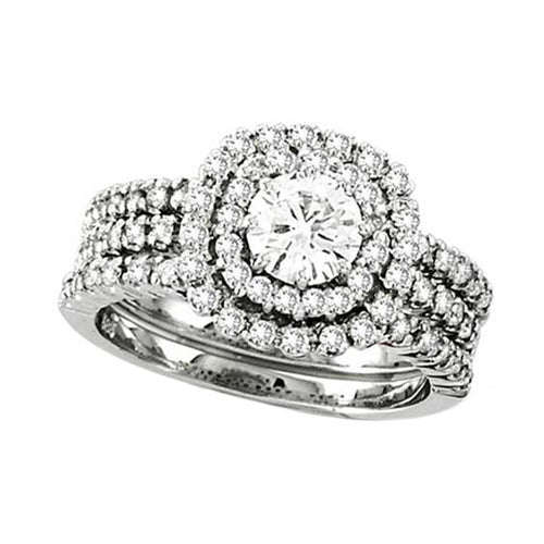 14K White Gold 1.65 CTTW Double Halo Engamenet Ring