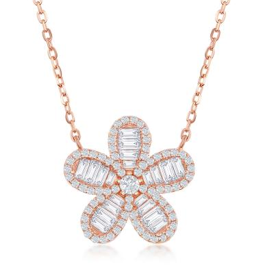 "STERLING SILVER 16+2"" ROSE GOLD PLATED BAGUETTE CZ FLOWER NECKLACE - Crestwood Jewelers"