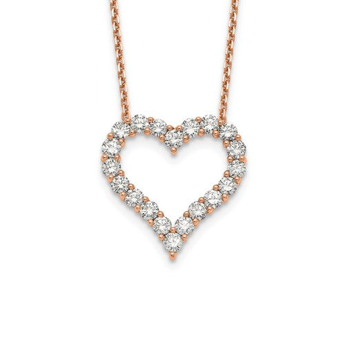 14k Gold 2.00 CTTW Diamond Heart Pendant With Chain