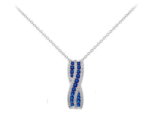 14k White Gold Diamond And Sapphire Necklace - Crestwood Jewelers