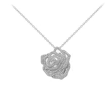 14k White Gold Diamond Rose Pendant