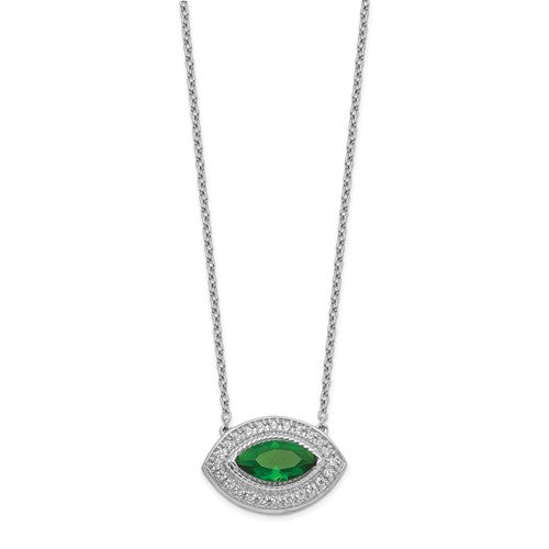 14k White Gold Diamond And Emerald Necklace