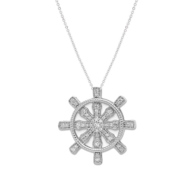 14k White Gold Diamond Ship Wheel Pendant - Crestwood Jewelers