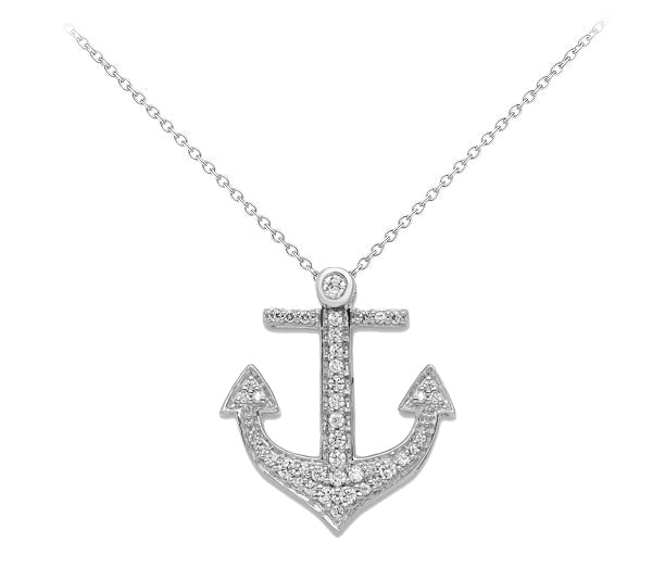 14k White Gold Diamond Anchor Pendant - Crestwood Jewelers