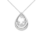 14k White Gold 1/2ct. Diamond Fancy Teardrop Necklace - Crestwood Jewelers