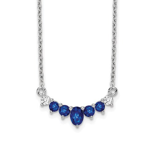 14k White Gold Sapphire and Diamond 18 inch Necklace - Crestwood Jewelers
