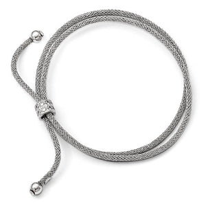 Leslie's Sterling Silver CZ Double Strand Adjustable Bracelet - Crestwood Jewelers