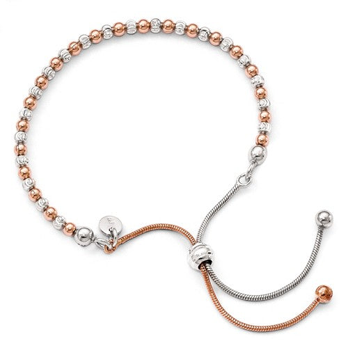 Leslie's Sterling Silver Rose Gold-Plated D/C Adjustable Bracelet - Crestwood Jewelers