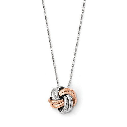 Sterling Silver Rose Rhodium-Plated Knot Necklace - Crestwood Jewelers