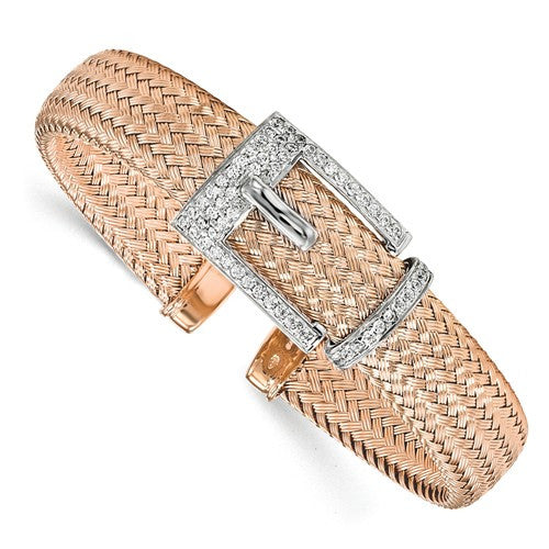 Sterling Silver Rose Gold-Plated CZ Polished Woven Cuff Bangle