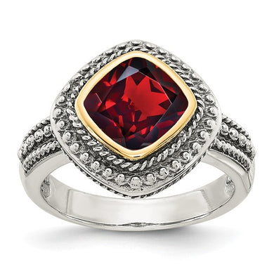 Sterling Silver With 14k Garnet Ring