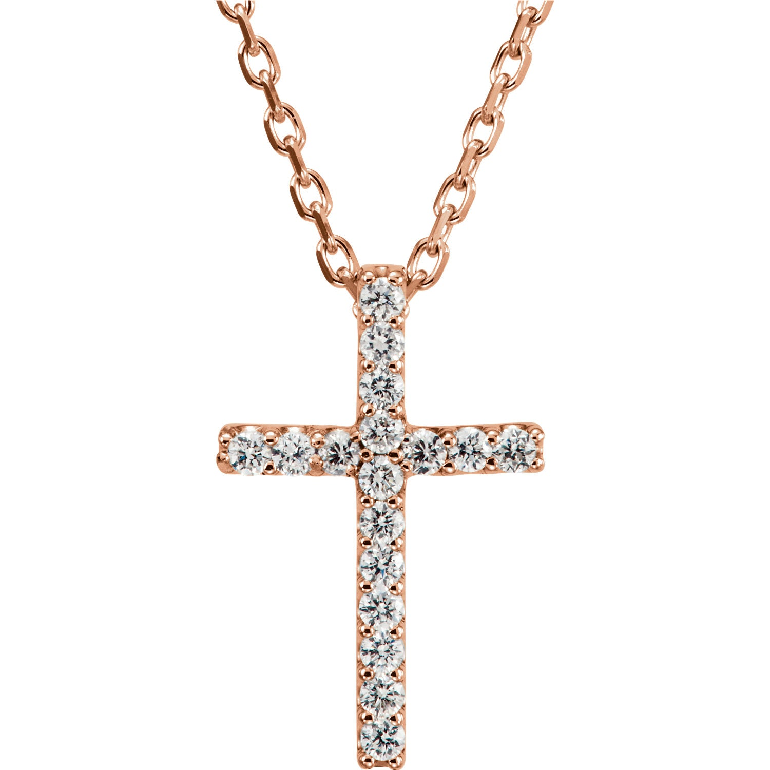 "14K Rose .085 CTW Diamond Cross 16"" Necklace - Crestwood Jewelers"