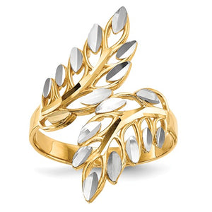 14k With White Rhodium Diamond-Cut Leaves Ring - Crestwood Jewelers