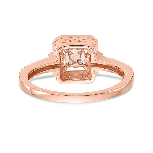 14K Rose Gold Complete Diamond Cluster Engagement Ring - Crestwood Jewelers