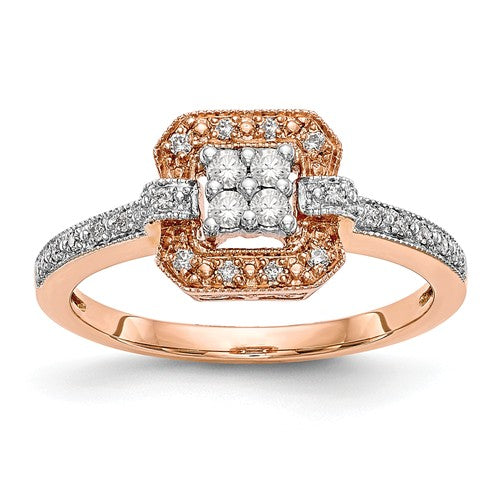 14K Rose Gold Complete Diamond Cluster Engagement Ring