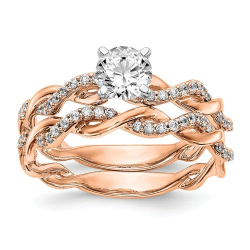14k Rose Gold Criss-Cross Diamond Engagement Ring 0.61CTTW - Crestwood Jewelers