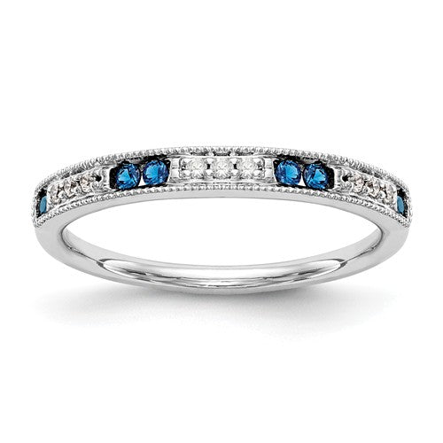14k White Gold Diamond With Sapphire Band - Crestwood Jewelers