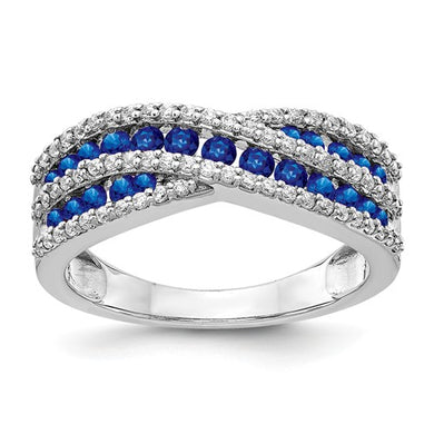 14k White Gold Diamond And Sapphire Fancy Ring