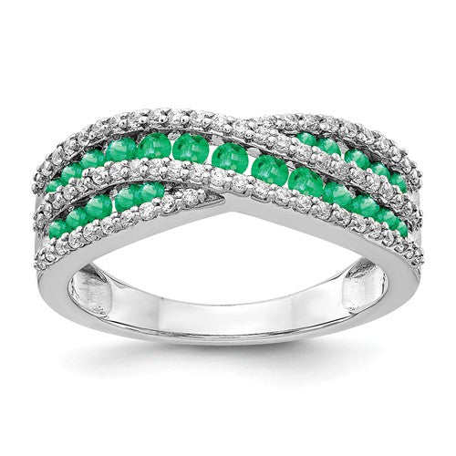 14k White Gold Diamond And Emerald Ring - Crestwood Jewelers