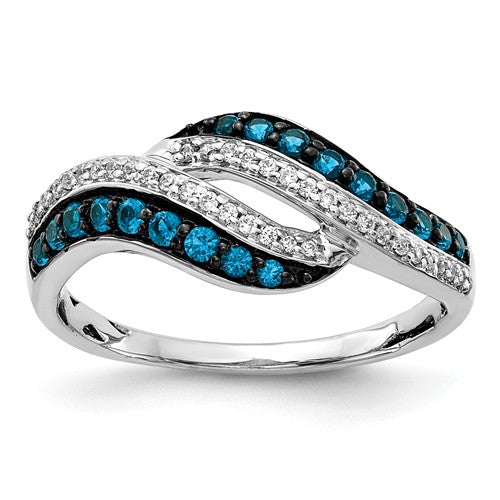 14k White Gold Blue And White Diamond Swirl Ring