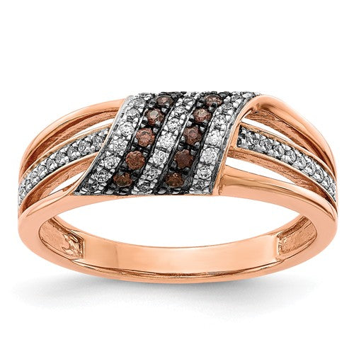 14k Rose Gold White And Champagne Diamond Ring - Crestwood Jewelers
