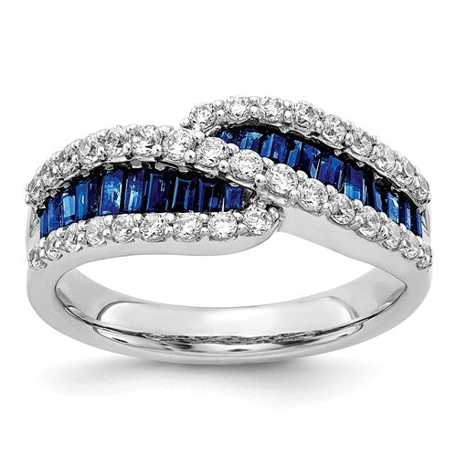 14K White Gold Sapphire Diamond Ring - Crestwood Jewelers