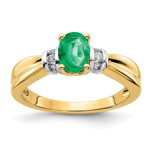 14k Two Tone Diamond Emerald Ring - Crestwood Jewelers