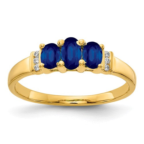 14k Polished Triple Sapphire And Diamond Ring