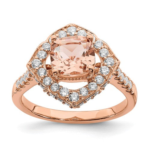 14k Rose Gold Morganite Diamond Halo Engagement Ring - Crestwood Jewelers
