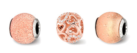 Rose Gold Toned Charm Trio by Reflection - Crestwood Jewelers