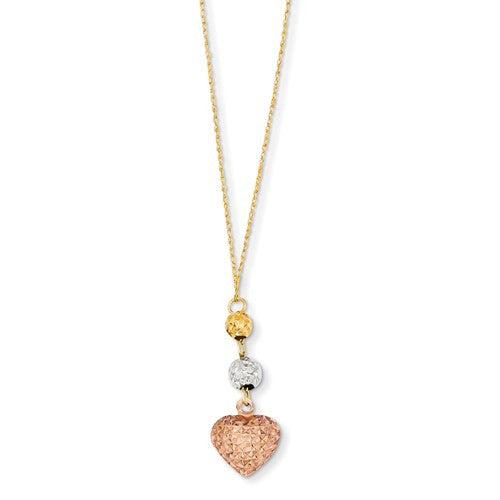 14K Tri-Color Ropa Diamond Cut Beads And Heart With 2in Ext Necklace