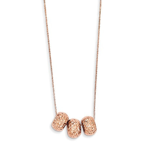 14K Rose Gold Ropa Diamond Cut Beads With 2in Ext Necklace