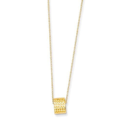 14K Rope Chain With Barrel Bead With 2in Extension Necklace
