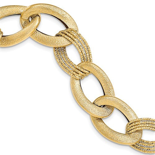 14k Fancy Link Bracelet - Crestwood Jewelers