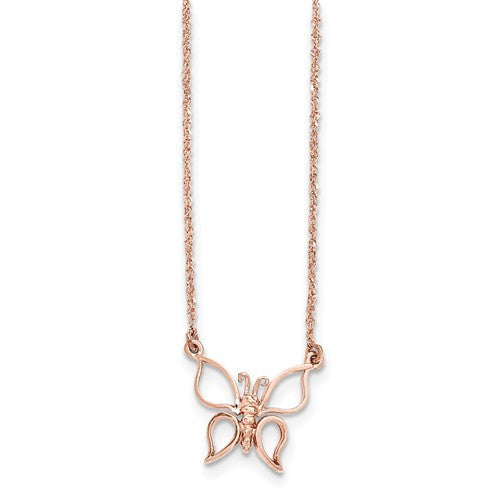 14k Gold Polished Butterfly Necklace