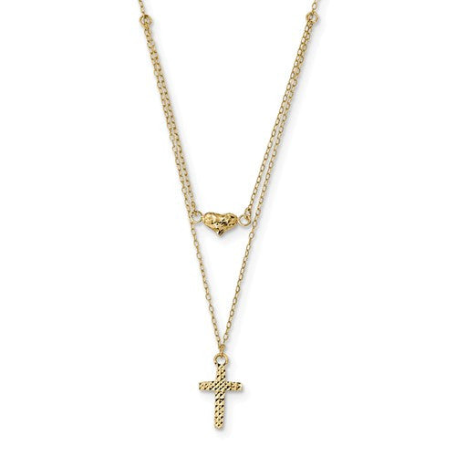 4k Polished 2-Strand D/C Cross And Heart With 2in. Ext. Necklace