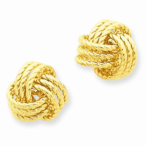 14k Polished Nautical Knot Post Earrings - Crestwood Jewelers