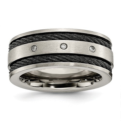 Titanium Black IP-Plated Cable And Diamonds 10mm Brushed Band - Crestwood Jewelers