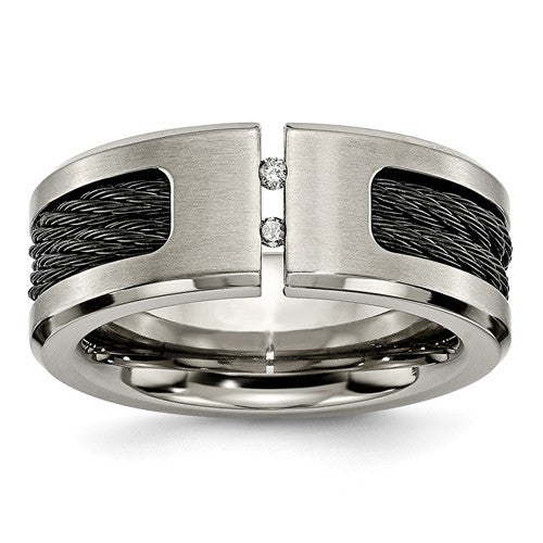 Titanium Black IP-Plated Cable And Diamonds Polished/Brushed Band