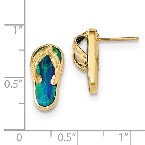 14k Polished With Created Blue Opal Flip Flop Post Earrings - Crestwood Jewelers