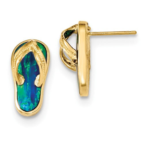 14k Polished With Created Blue Opal Flip Flop Post Earrings