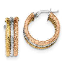 14k Tri-Color Polished Textured Triple Hoop Earrings