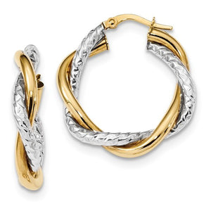 14k Two-Tone Polished And Textured Twisted Hoop Earrings - Crestwood Jewelers